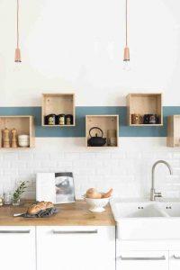 Rangements de cuisine cubiques en bois